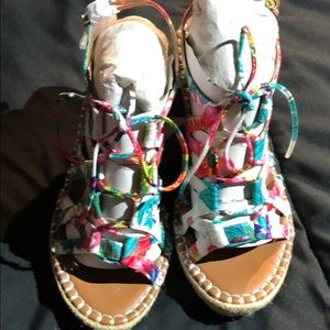JustFab Multi-Color Floral Laced Wedges